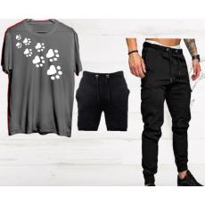 SUMMER COLLECTION printed (t-shirt+shorts+trouser) 3pcs suit for men soft trendy